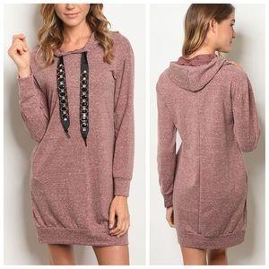 Mauve long sleeve hooded sweater dress